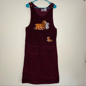 Disney Jumper Overall Dress Lady and Tramp Small